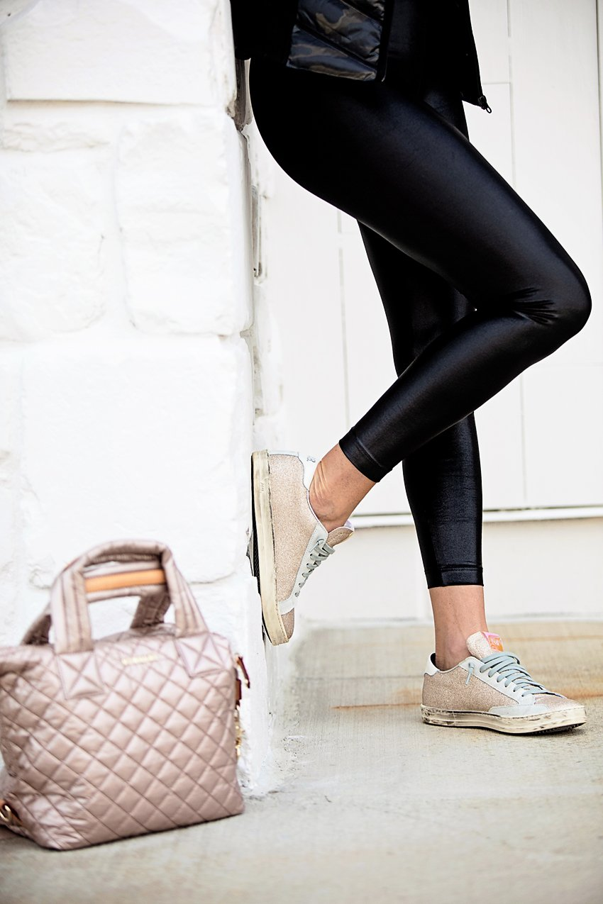 The Motherchic wearing activewear from bloomingdales