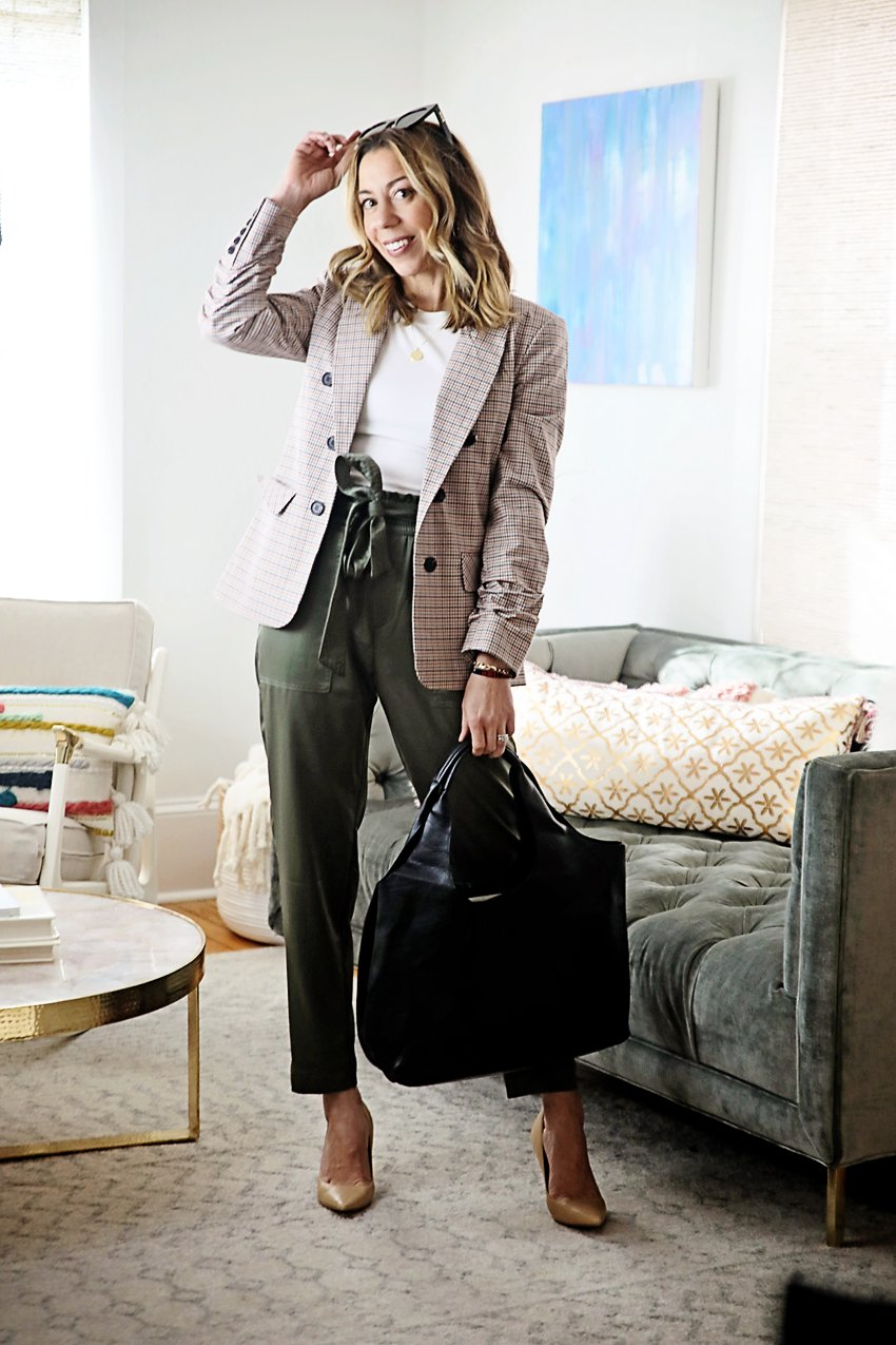 the motherchic wearing plaid blazer with bodysuit and silky pants