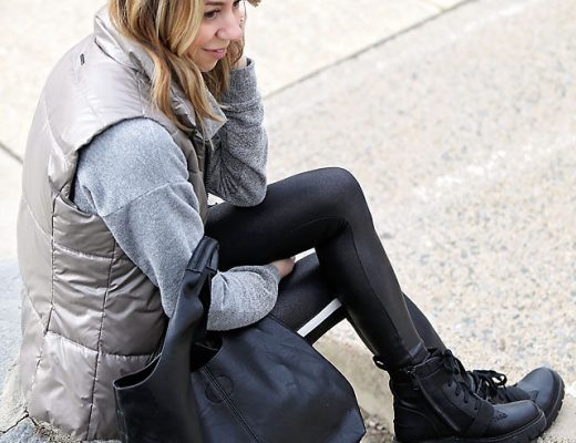 the motherchic wearing ugg combat boots
