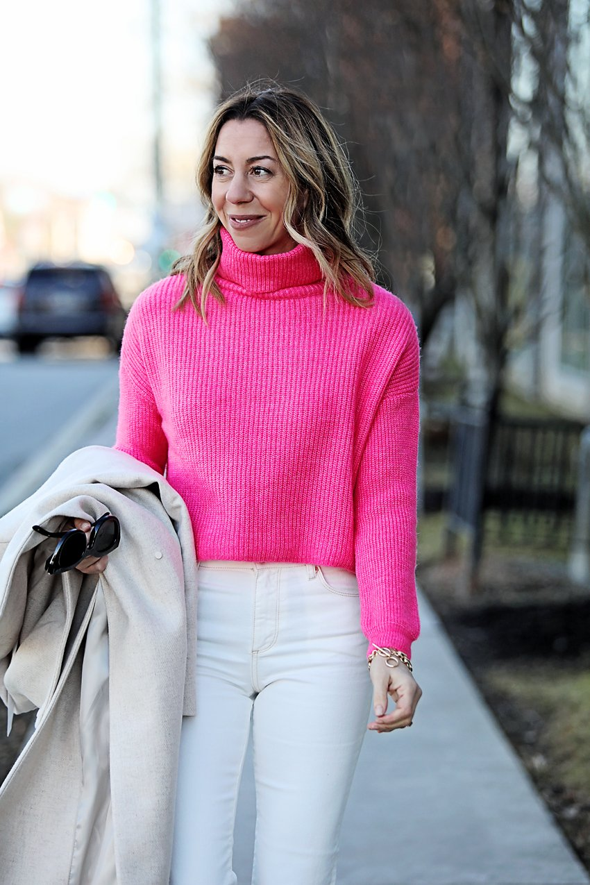 the motherchic wearing neon pink sweater macys how to style neon