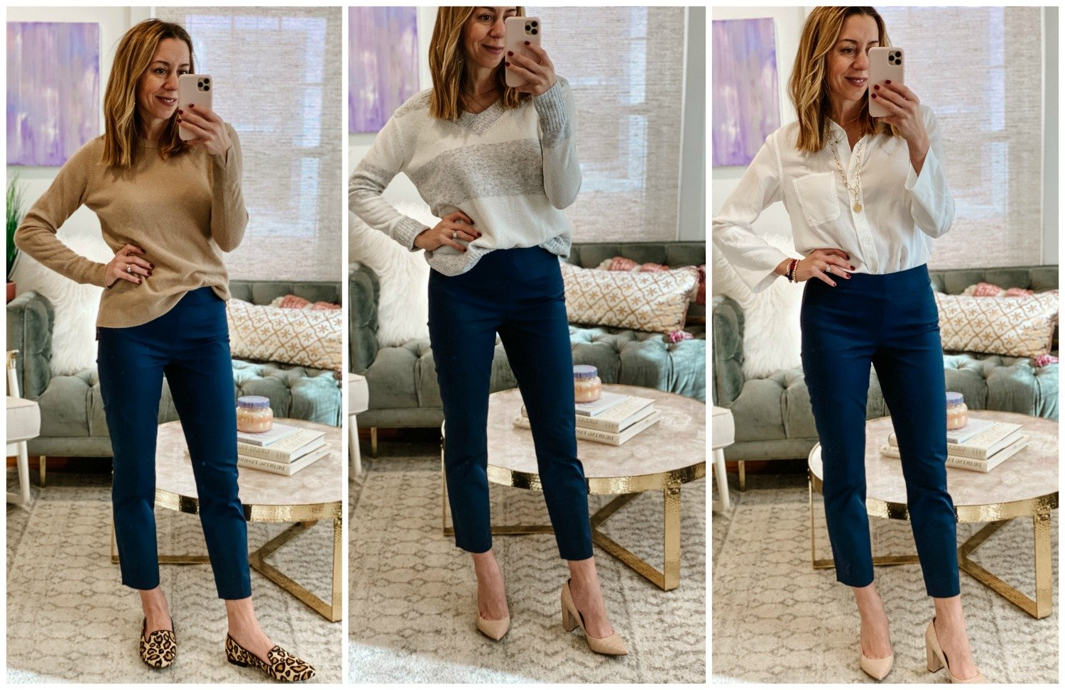 The Motherchic wearing Everlane work pants