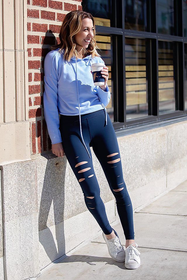 the motherchic wearing steve madden sneakers alo top alo leggings