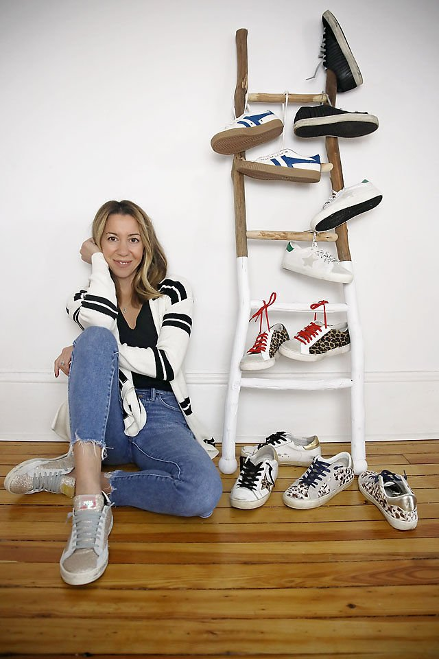 the motherchic wearing cool sneakers