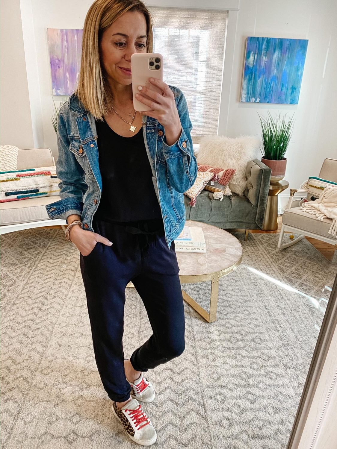 the motherchic wearing amazon jumpsuit daily ritual steve madden sneakers, denim jacket j.crew