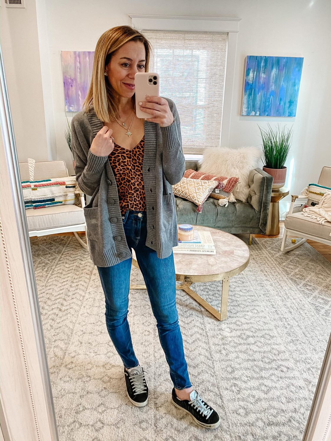 the motherchic wearing leopard cami cardigan jeans p448 sneakers