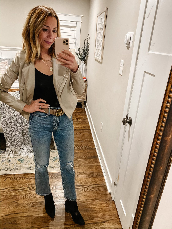 the motherchic wearing bb dakota jacket bodysuit gucci belt good american jeans sock bootie