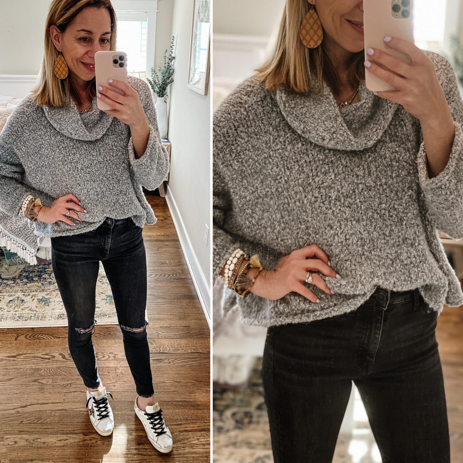 the motherchic wearing free people sweater golden goose sneakers amazon jeans