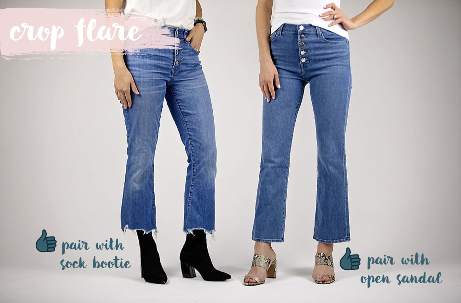 the motherchic wearing crop flare jeans