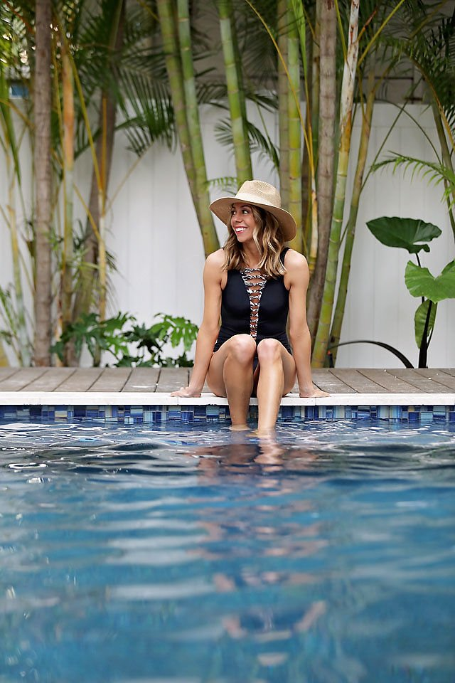 the motherchic wearing bleu by rod beattie one piece swimsuit