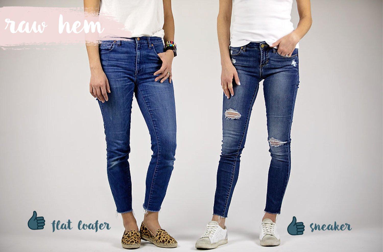 the motherchic wearing skinny raw hem jeans