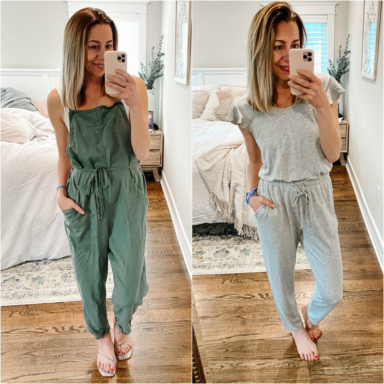 the motherchic wearing summer loungewear target jumpsuit and gibson jumpsuit