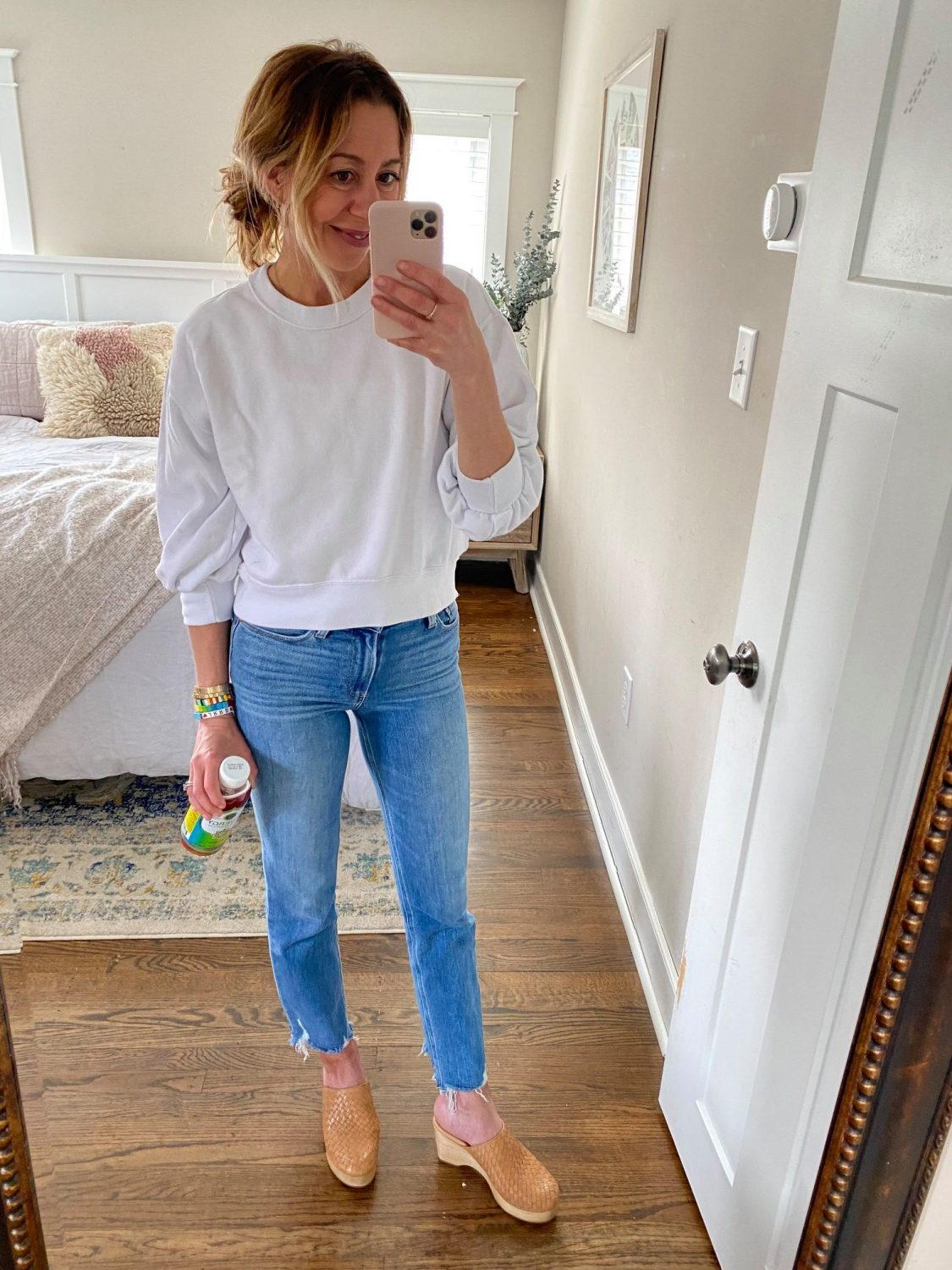 the motherchic wearing paige jean