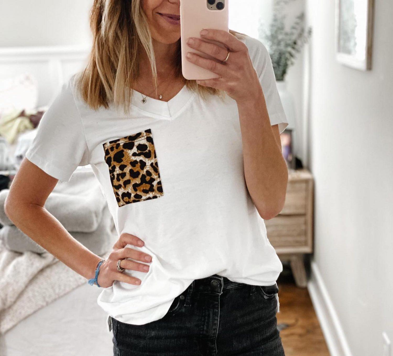 the motherchic wearing amazon leopard pocket tee