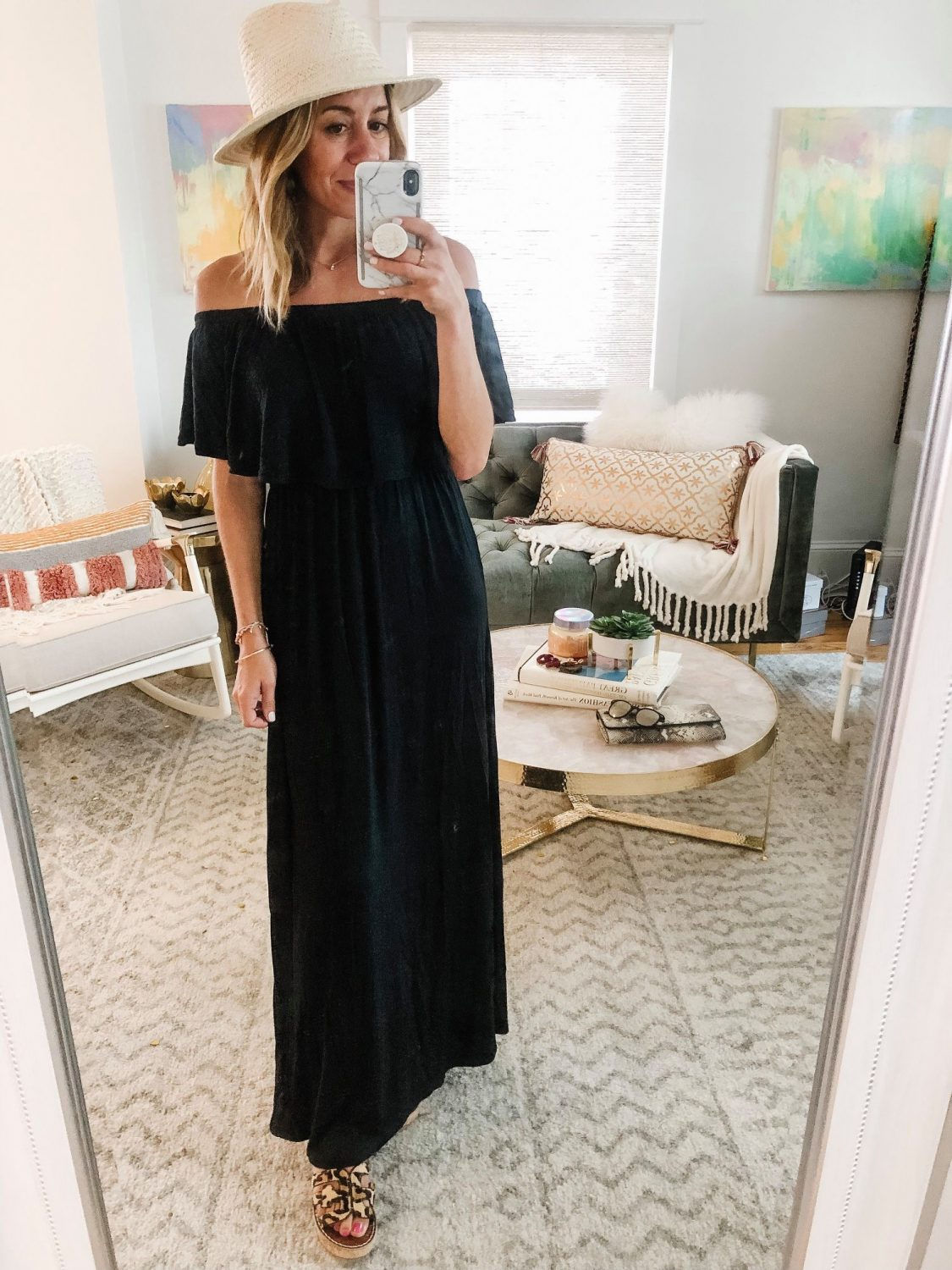 the motherchic wearing black amazon maxi dress off the shoulder