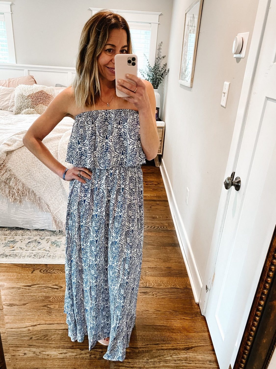 the motherchic wearing printed amazon maxi dress strapless