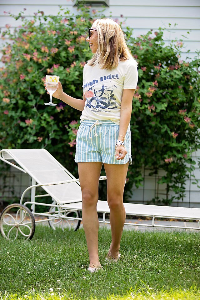 The Motherchic wearing pull-on shorts from aerie