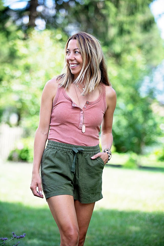 The Motherchic wearing pull-on shorts from j.crew