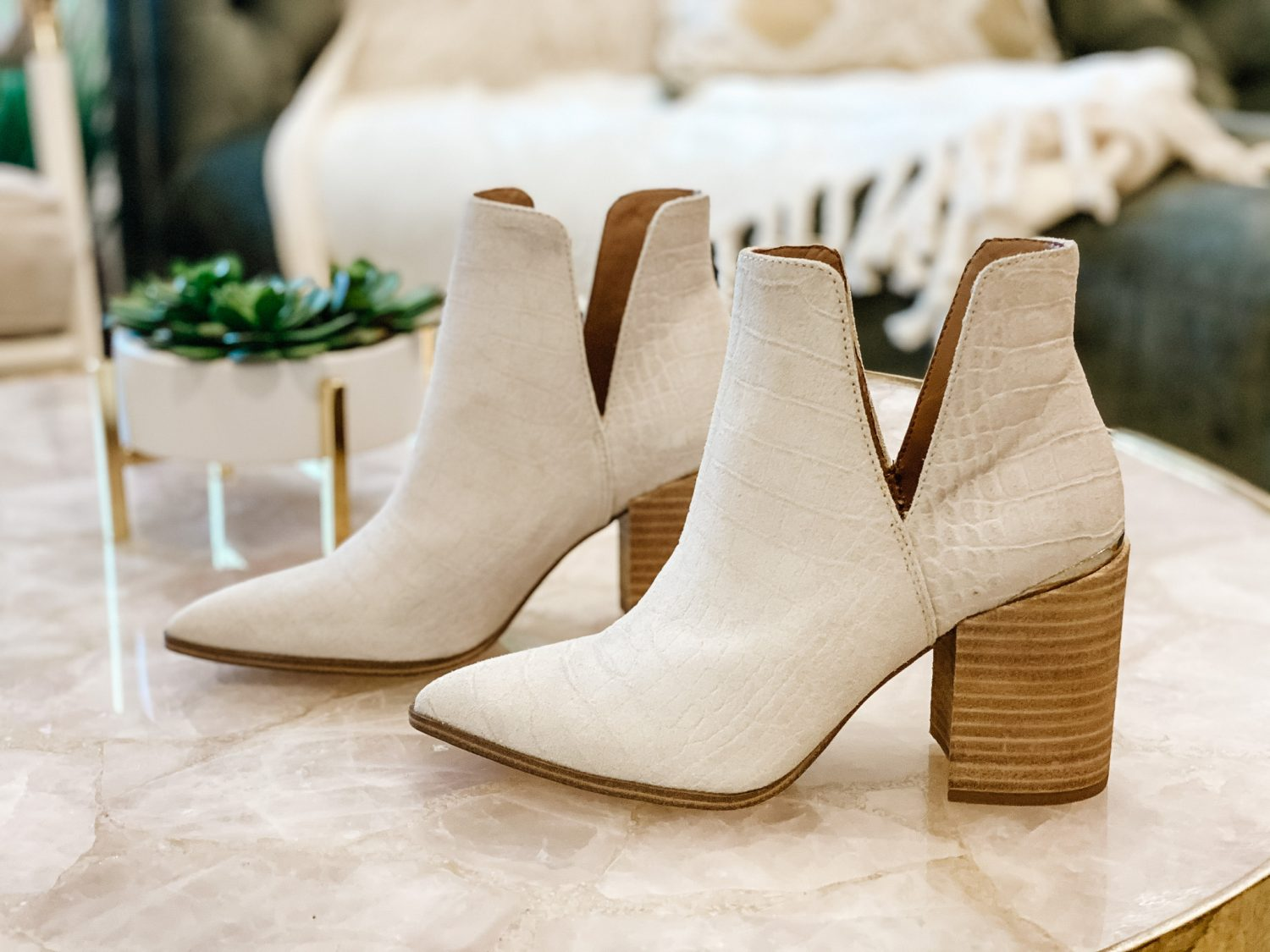 the motherchic wearing steve madden notched bootie shoe nordstrom anniversary sale
