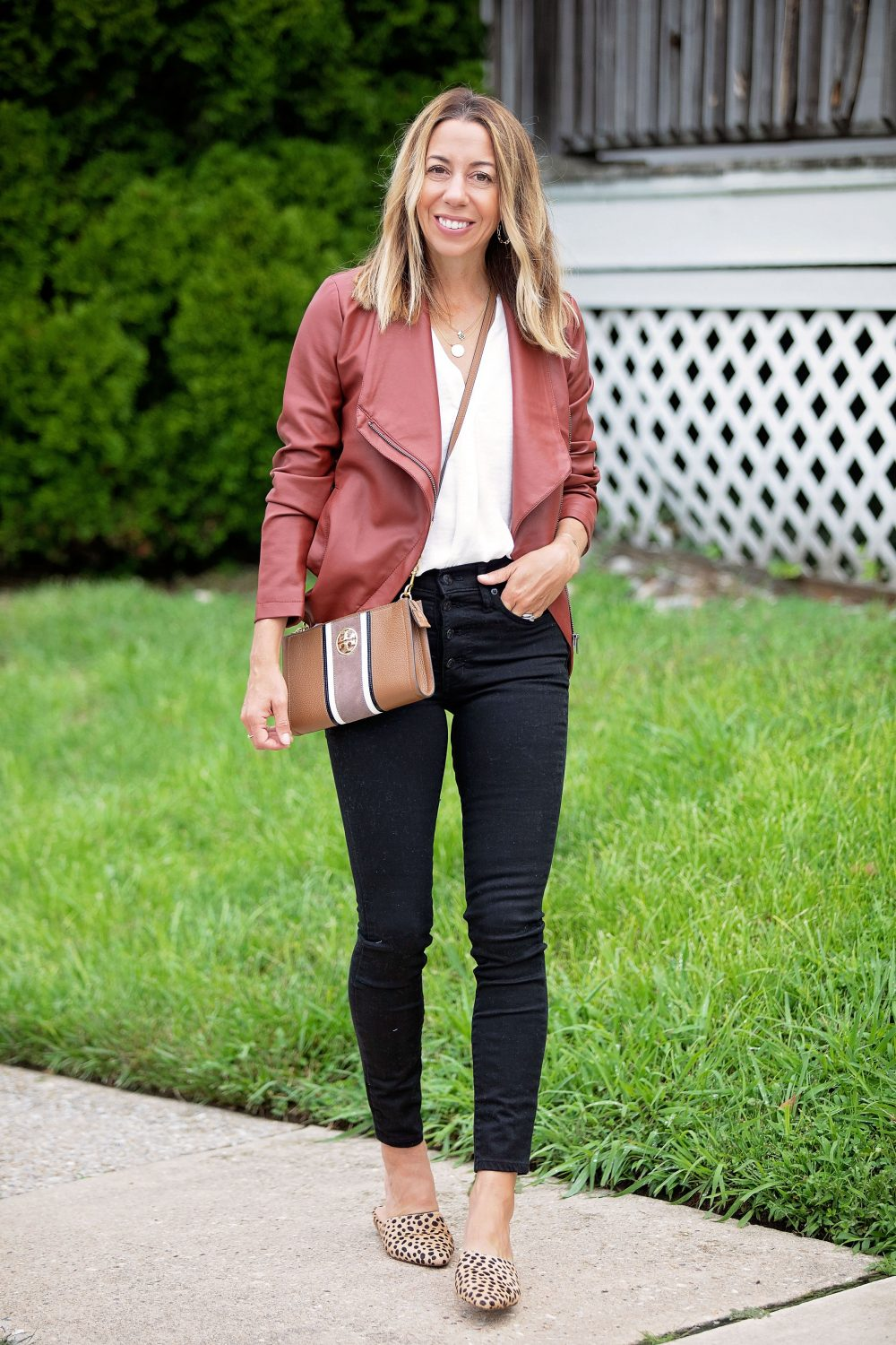 the motherchic wearing madewell black jeans bb dakota faux leather jacket