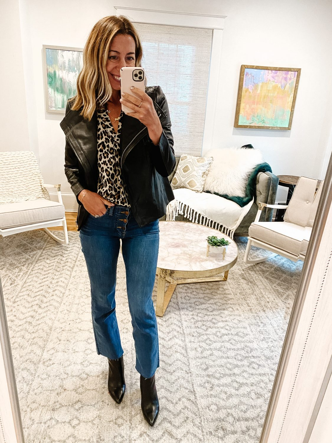 the motherchic wearing leather fall jacket chelsea28
