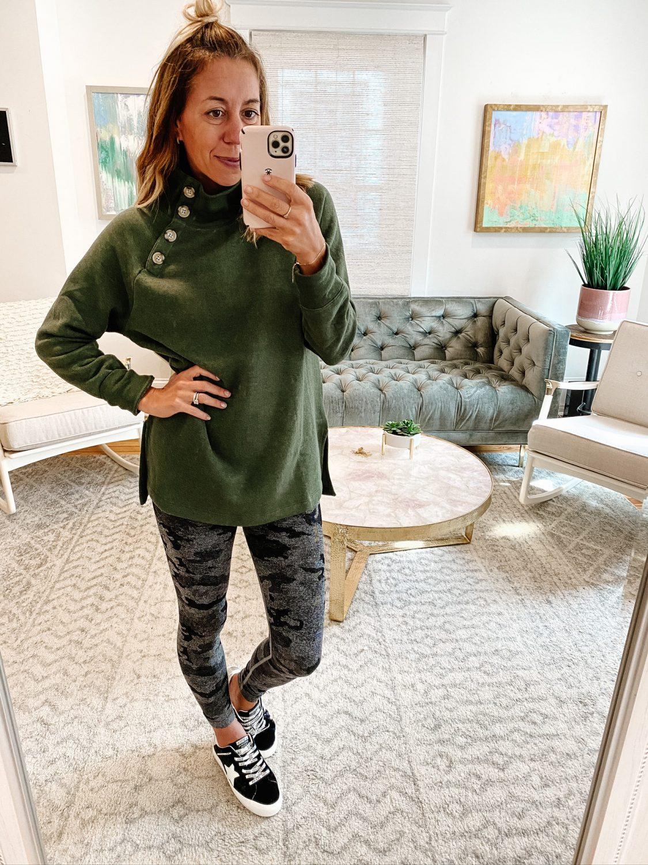 the motherchic wearing jcrew factory tunic amazon leggings social threads vintage havana sneaker