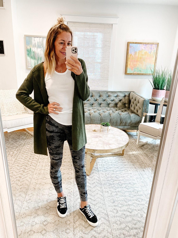 the motherchic wearing jcrew fall jacket coatigan amazon leggings