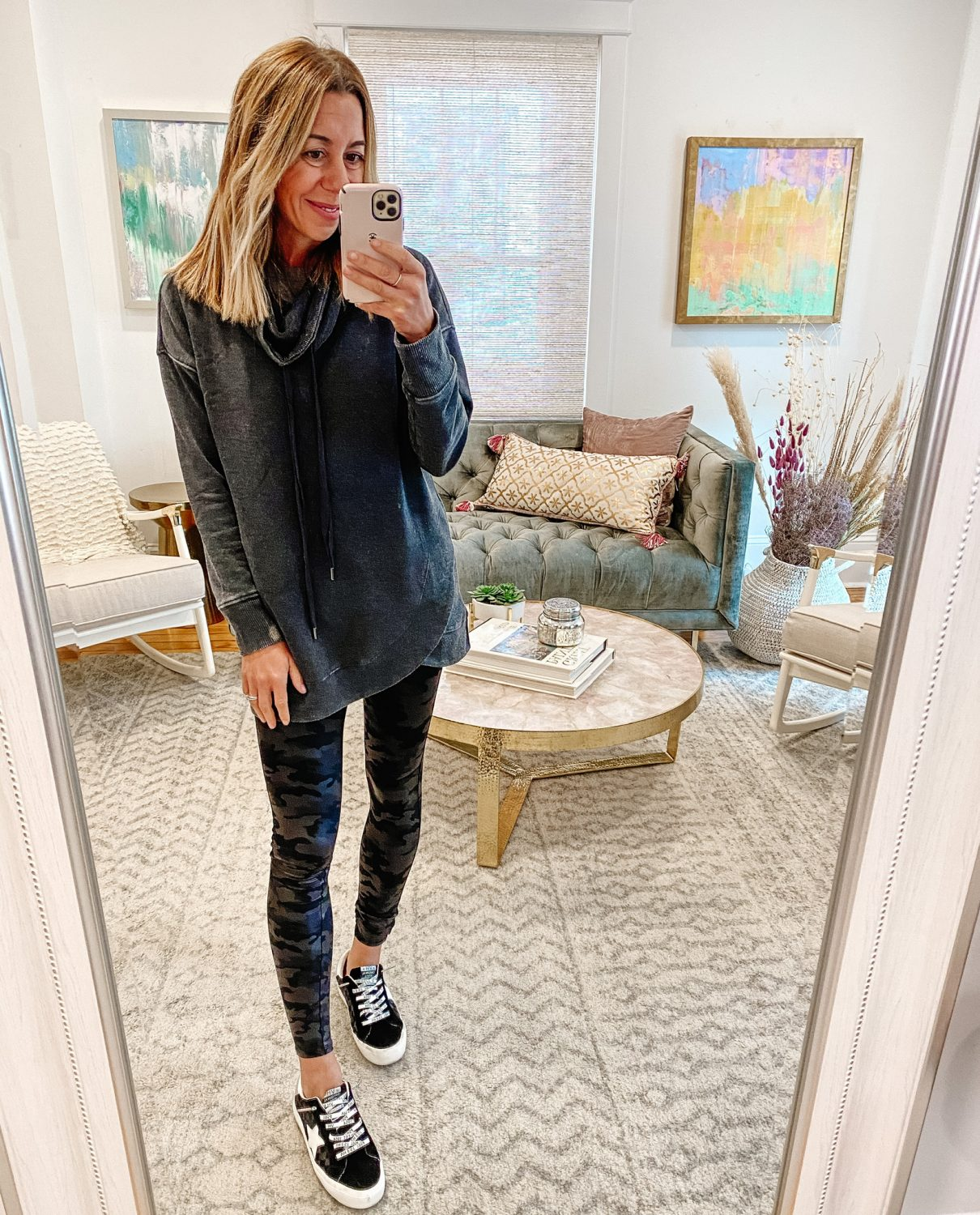 the motherchic wearing social threds tunic camo spanx leggings social threads vintage havana sneaker tunics that work best with leggings