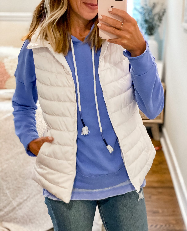 the motherchic wearing gap vest gibson sweatshirt