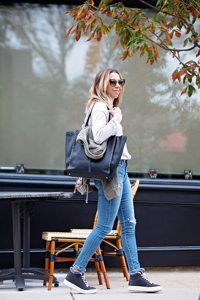 The Motherchic wearing casual fall outfit from Saks OFF 5th