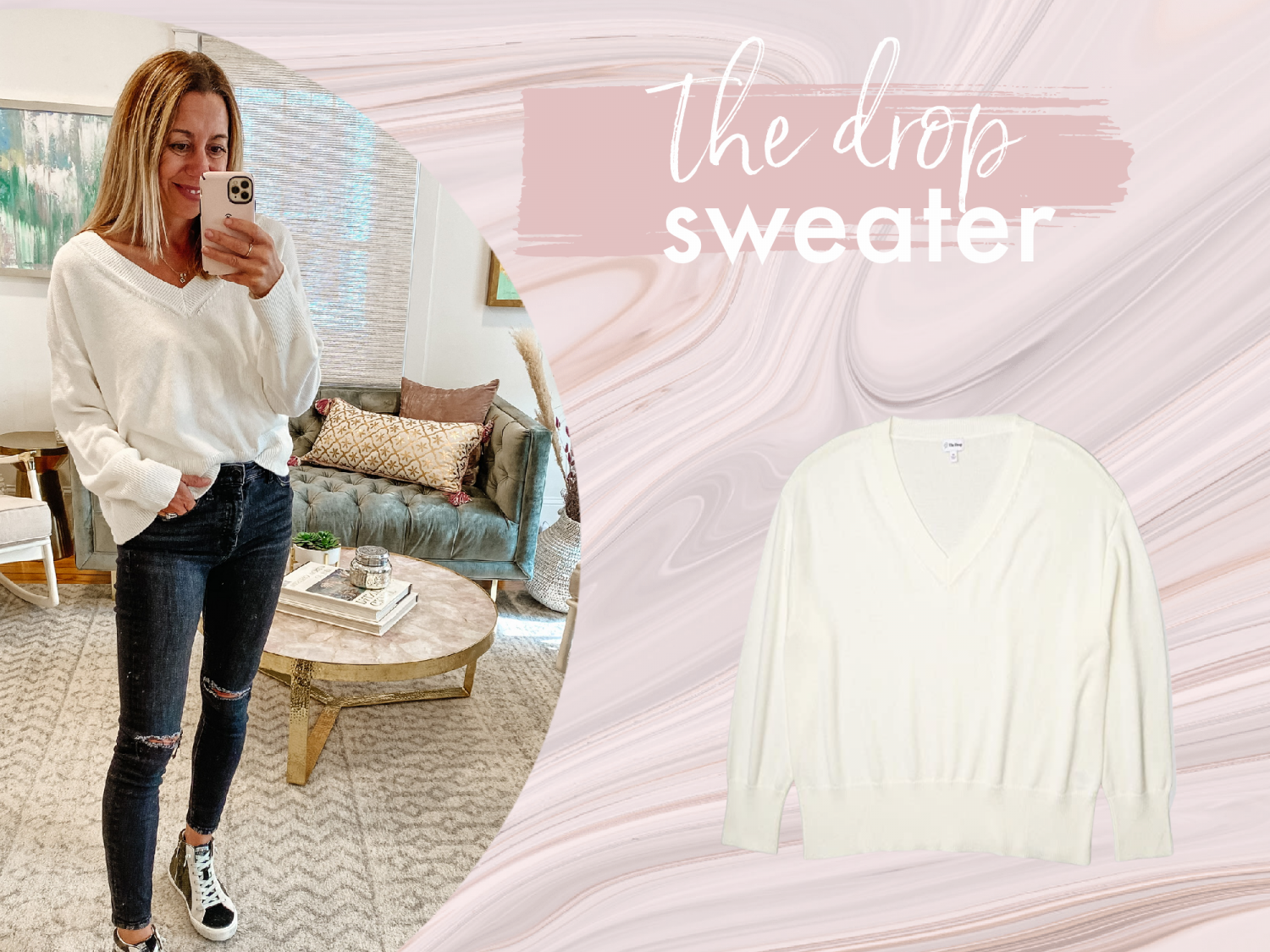 the motherchic wearing favorite amazon sweaters the drop