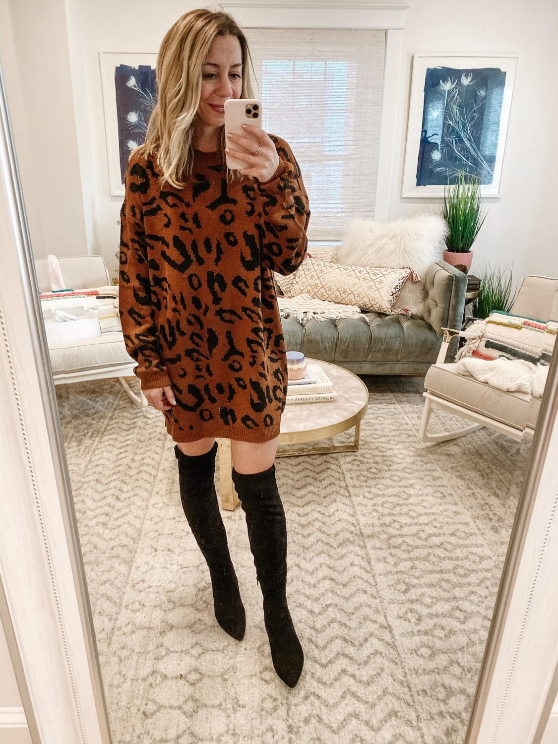the motherchic thanksgiving outfit sweater dress amazon leopard