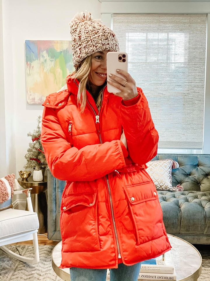 the motherchic wearing j.crew chateau puffer