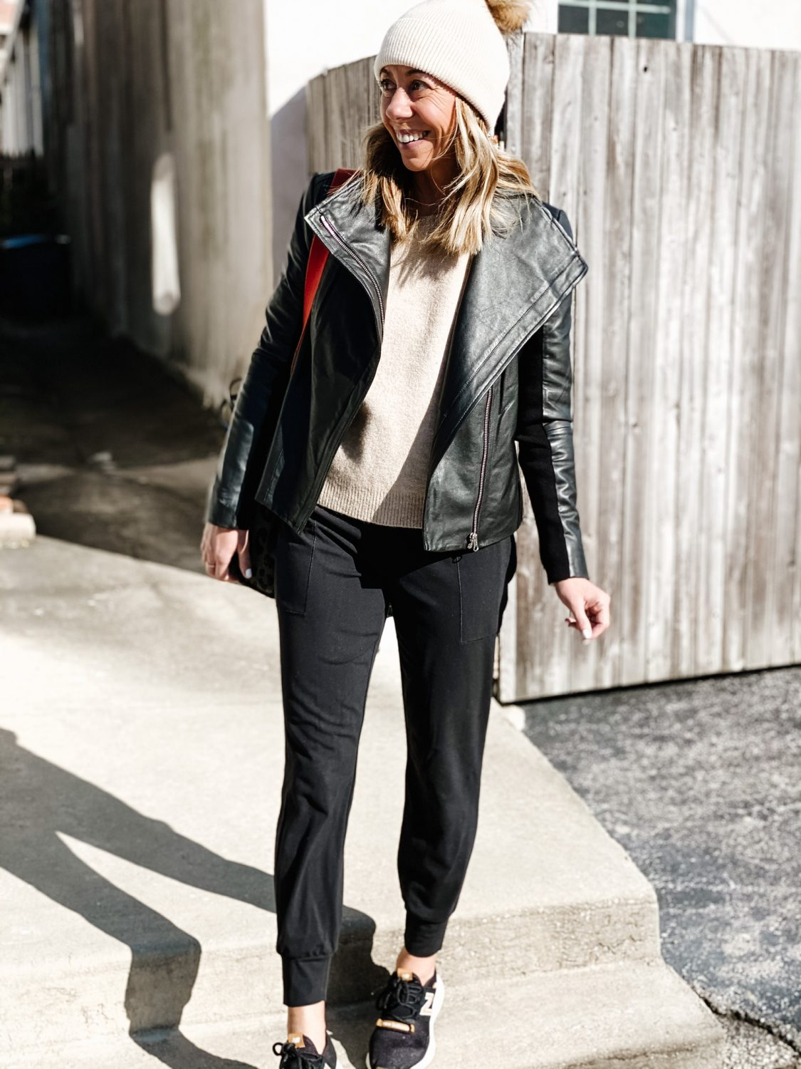 the motherchic how to style joggers leather jacket