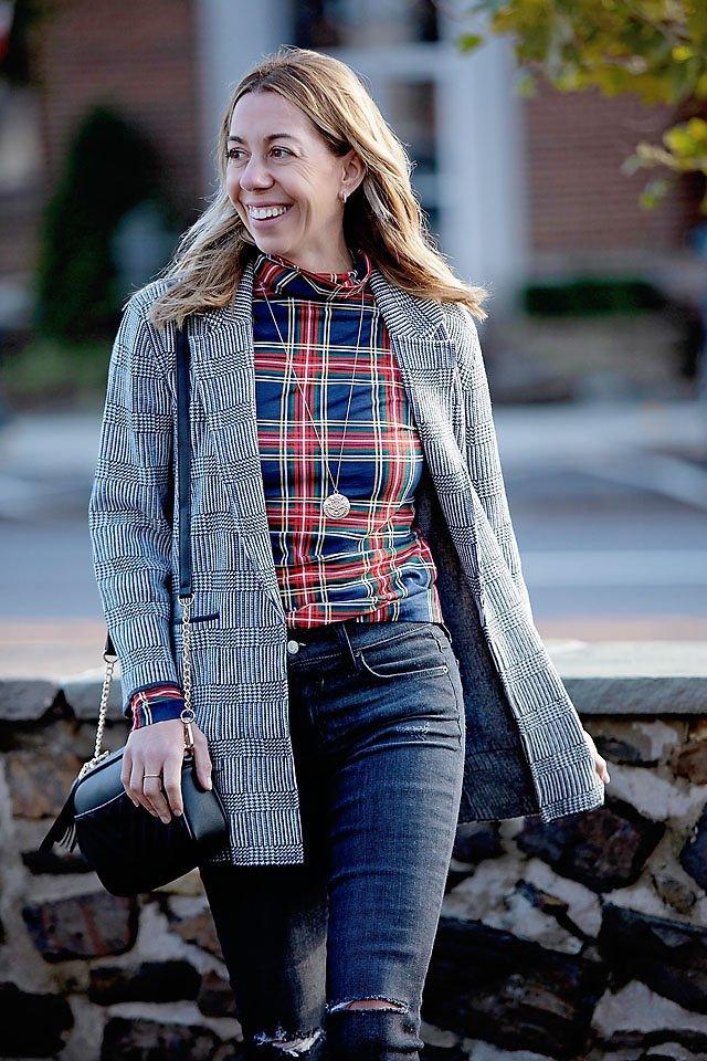 the motherchic wearing jcrew sale plaid blazer