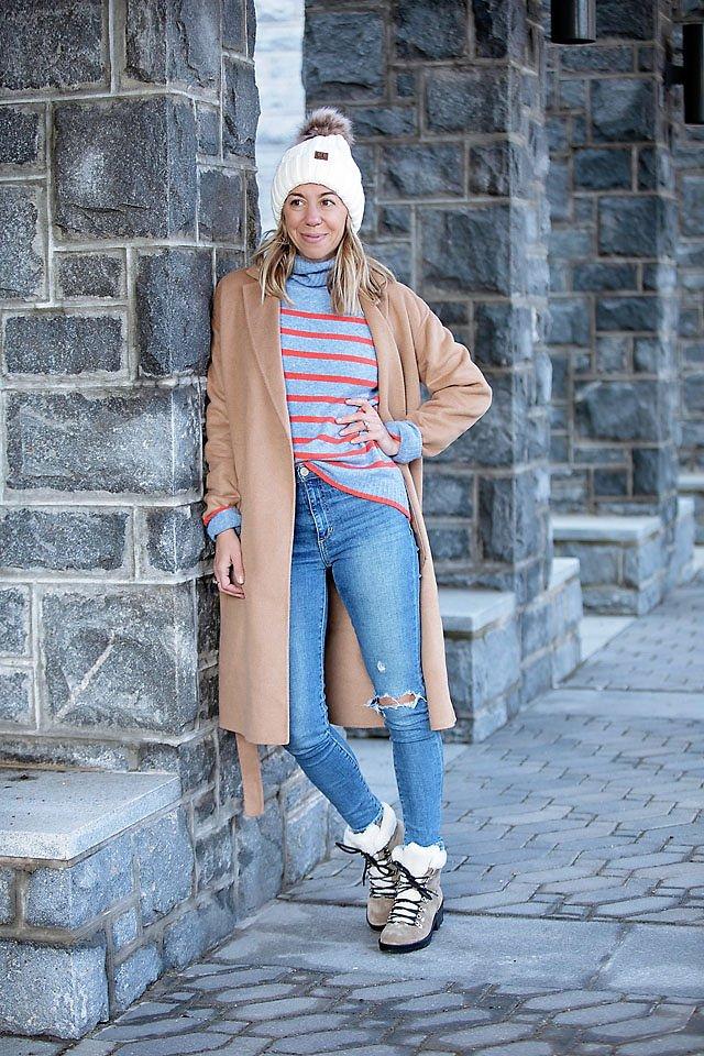 the motherchic wearing jcrew sale stripe sweater