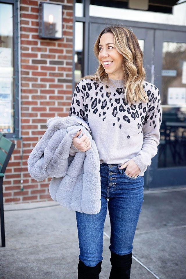 The Motherchic saks off 5th faux fur vest and leopard cashmere