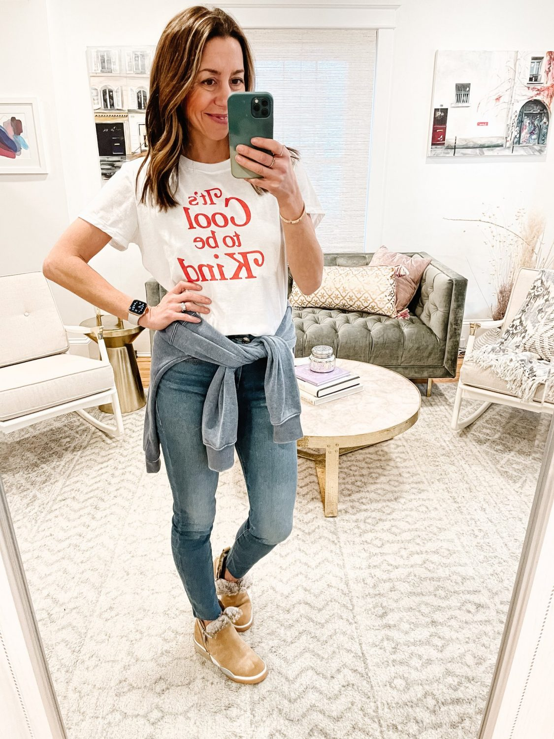 the motherchic wearing graphic tee social threads cool to be kind