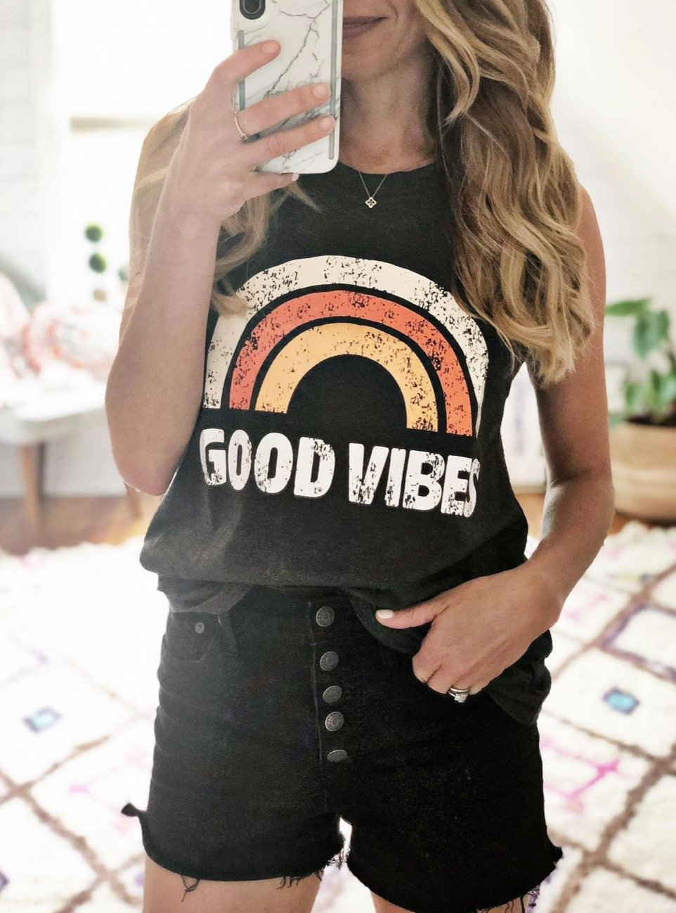 the motherchic wearing graphic tee amazon good vibes
