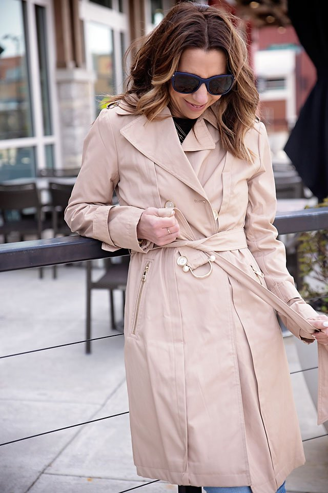 the motherchic wearing karl lagerfeld trench coat saks off 5th