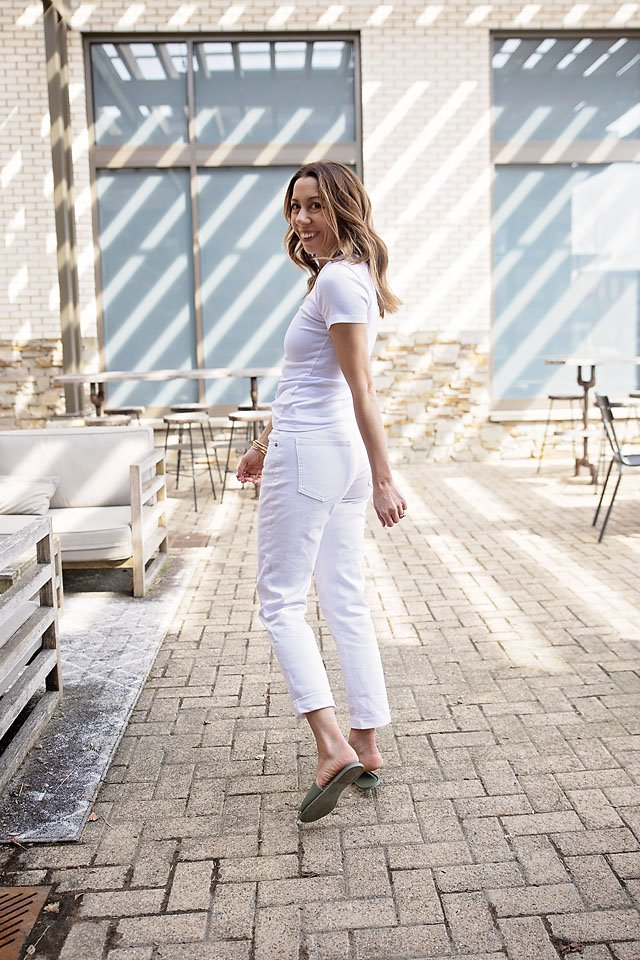 the motherchic wearing white jeans quilted jacket gap