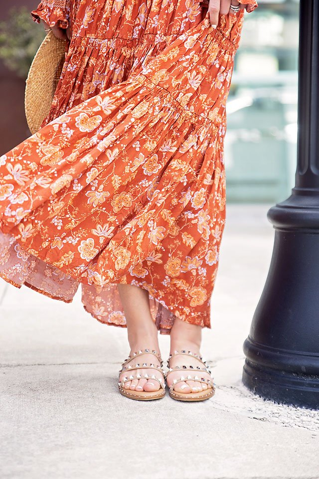 the motherchic wearing free people dress studded sandals saks off 5th