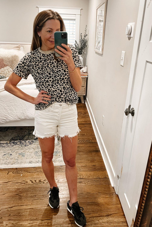 the motherchic wearing amazon leopard tee makai free people shorts  sideline chic