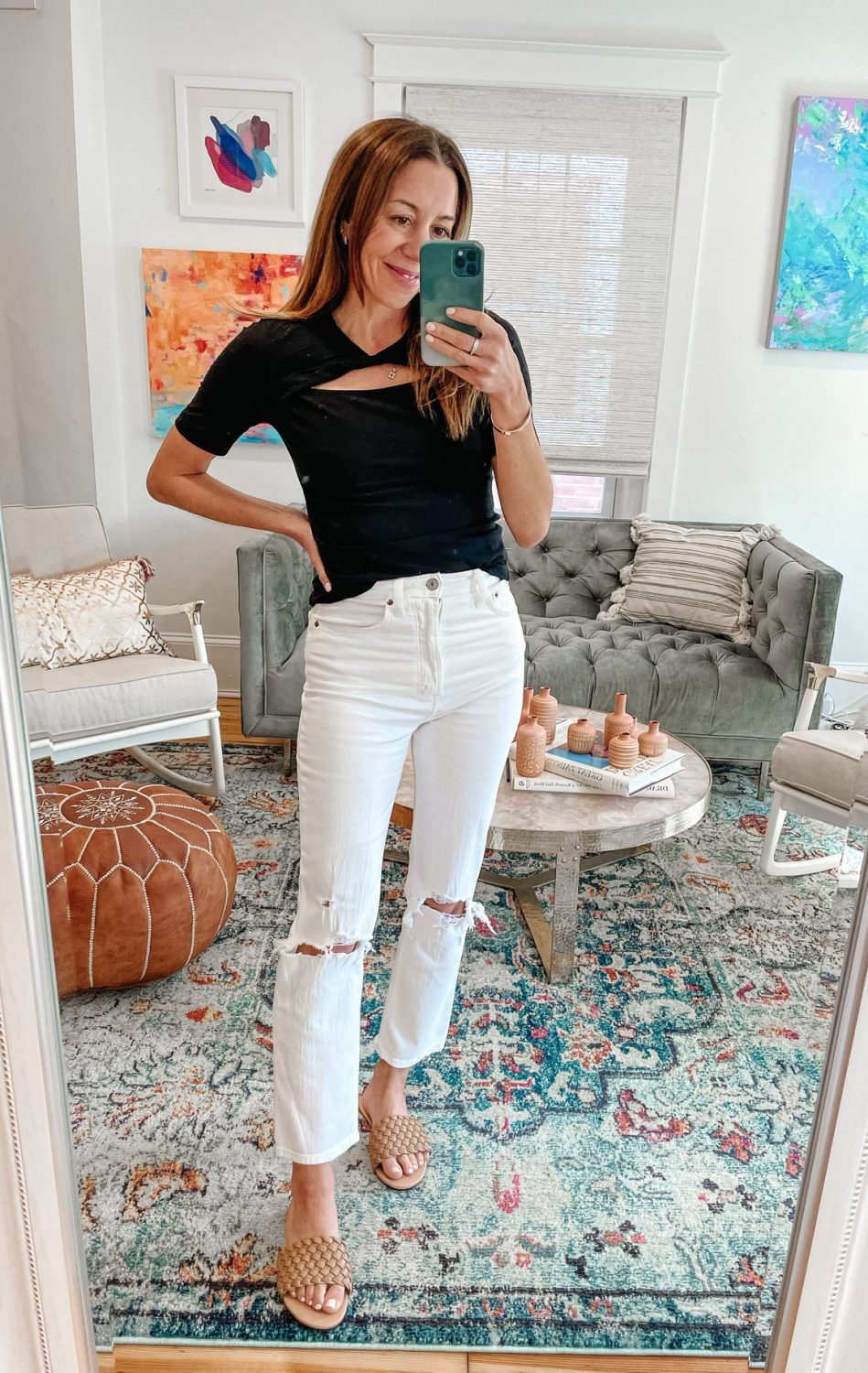 the motherchic wearing abercrombie jeans