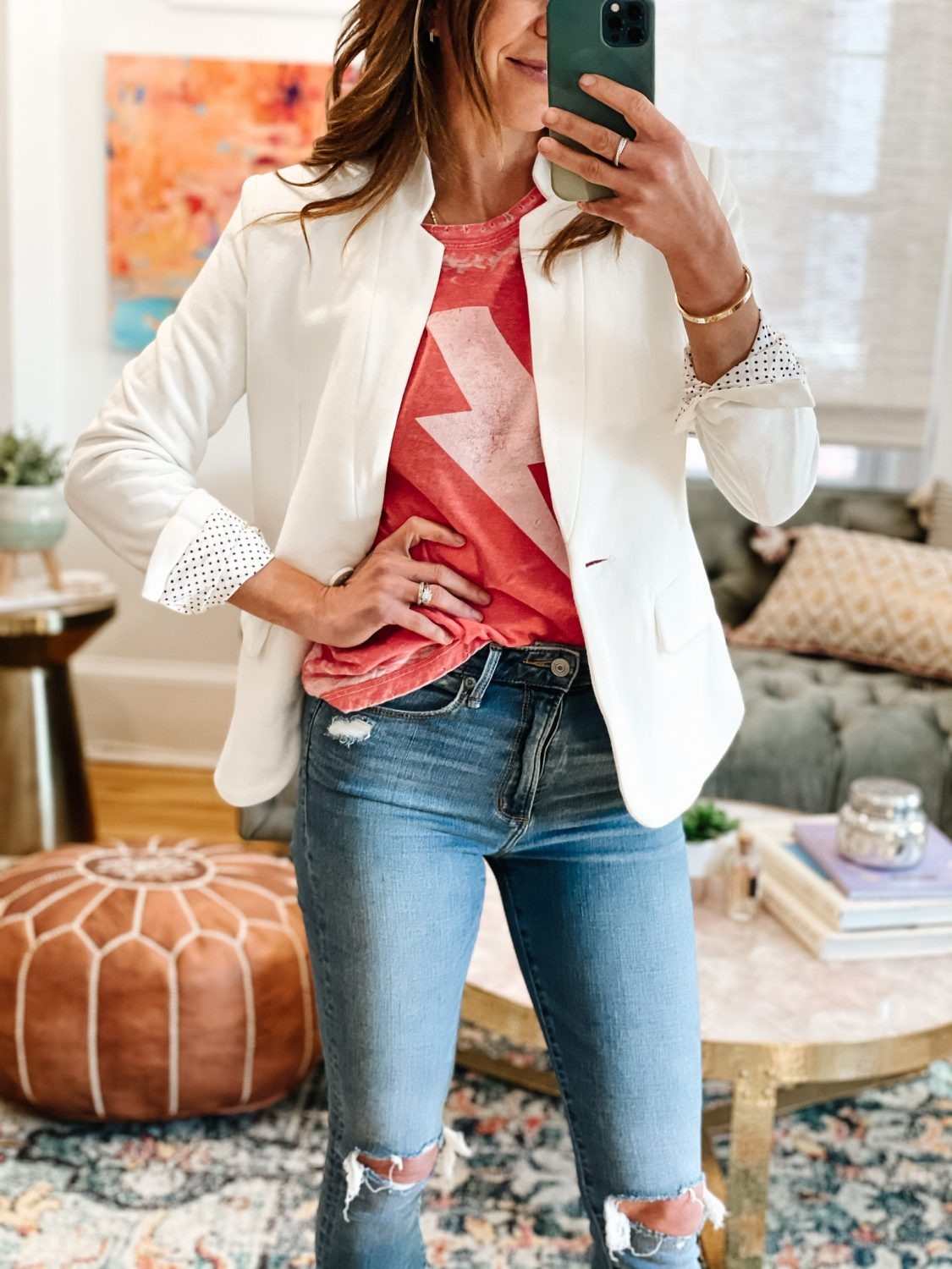 the motherchic wearing graphic tee lightning tee and blazer