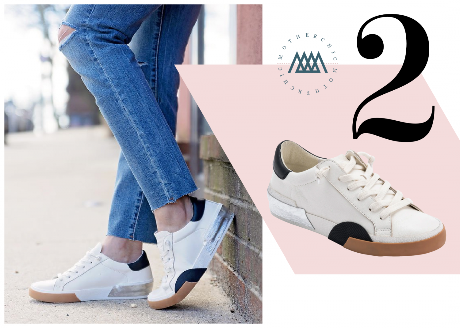 the motherchic wearing dolce vita sneakers